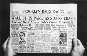 The front page of the Brooklyn Daily Eagle newspaper with the headline 'Wall St. In Panic As Stocks Crash', published on the day of the initial Wall Street Crash of 'Black Thursday', 24th October 1929. (Photo by FPG/Hulton Archive/Getty Images)