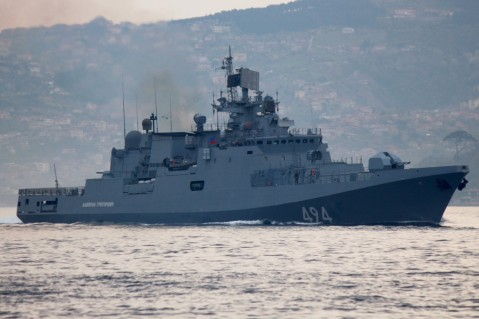 Russian frigate armed with missiles