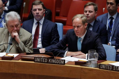 British Ambassador to the United Nations Matthew Rycroft addresses the United Nations Security Council during a high level meeting on Syria at the United Nations in Manhattan, New York