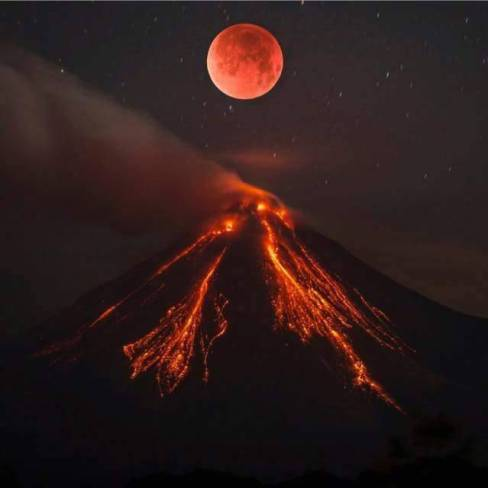 Red Moon and Volcano
