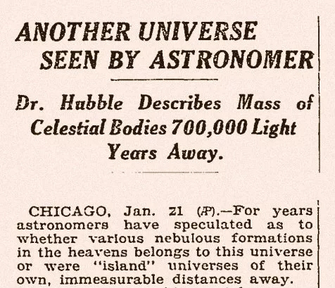 1923 Edwin Hubble measured the distances
