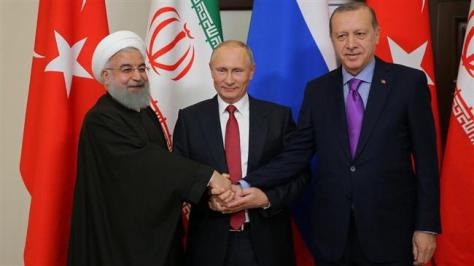 Erdogan of Turkey Hassan Rouhani of Iran and Vladimir Putin of Russia