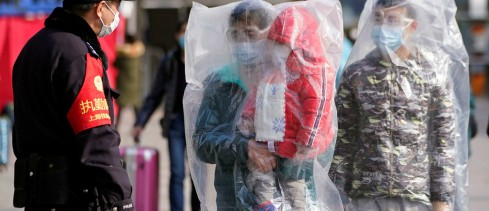 plastic bags outside Shanghai railway station