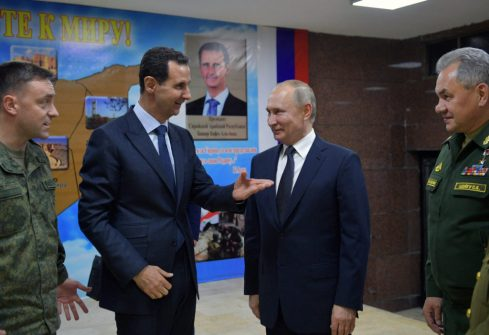 Russian President Putin meets with his Syrian counterpart Assad in Damascus