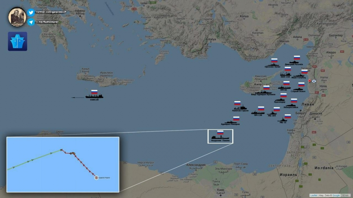 15 Russian ships off the coast of Syria and Cyprus in the eastern Mediterranean
