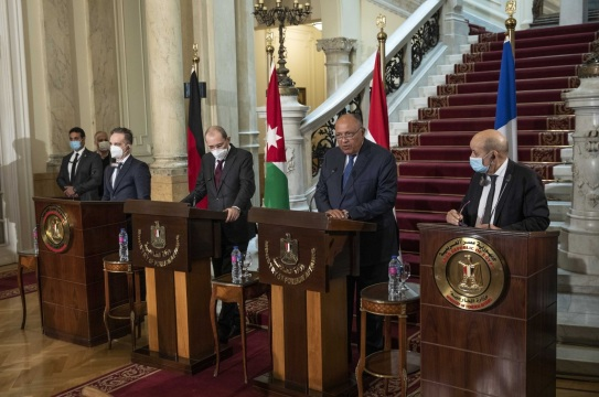 Egypt on Monday hosted the foreign ministers of Germany France and Jordan