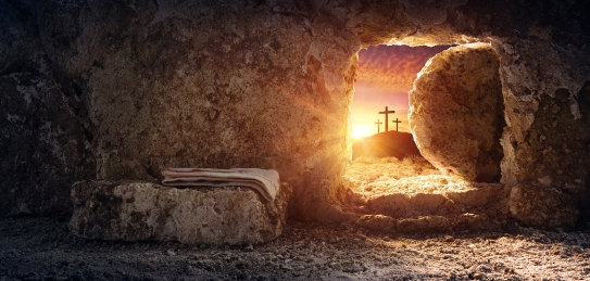 Tomb Empty With Shroud And Crucifixion At Sunrise Resurrection O