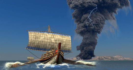 the massive Bronze Age eruption of Thera in Greece